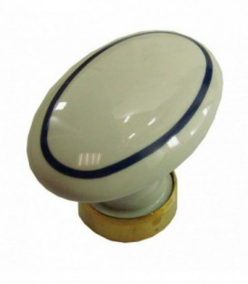 Bouton simple OVALE en porcelaine Blanc filet bleu marine