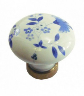 Bouton simple DELPH ROND en porcelaine décoration bleu