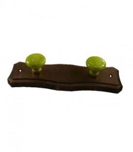Porte manteau support en bois noyer et deux boutons en porcelaine VERT ANIS