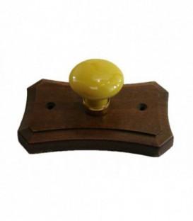 Porte manteau support en bois, bouton en porcelaine VIEUX JAUNE