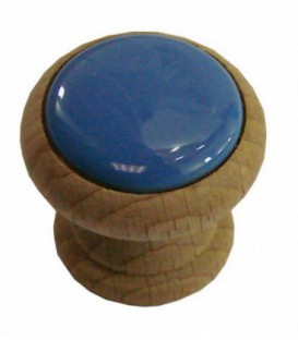 Bouton de meuble BLEU AZUR en porcelaine