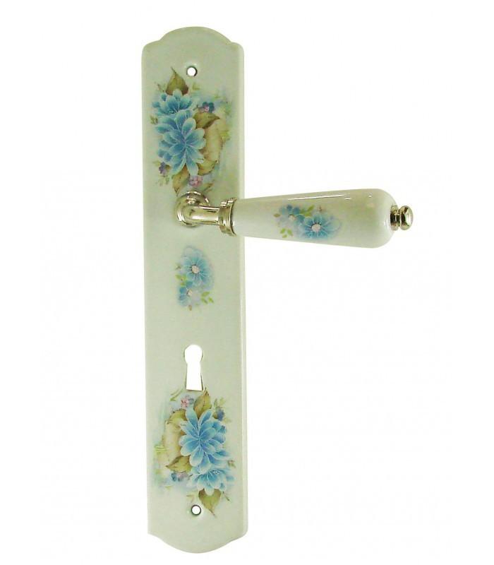 1 2 poign e de porte olive sur plaque en porcelaine d cor fleur 1001poign es votre. Black Bedroom Furniture Sets. Home Design Ideas