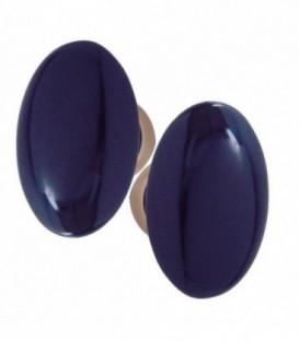 Poignée double OVALE pour porte intérieure porcelaine de LIMOGES Bleu de four sur laiton poli