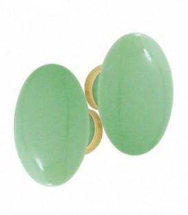 Poignée double OVALE pour porte intérieure porcelaine de LIMOGES Vert d'eau sur laiton poli